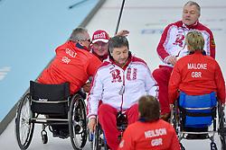 Jim Gault, Andrey Smirnov, Alexander Shevchenko, Angine Malone, Aileen Neilson, Marat Romanov, Wheelchair Curling Semi Finals at the 2014 Sochi Winter Paralympic Games, Russia
