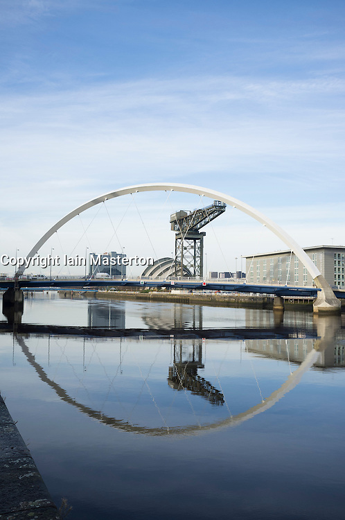 View along River Clyde towards Arc Bridge at Finnieston in Glasgow