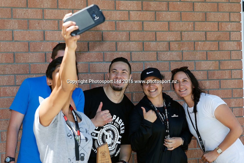 Joseph Parker visits his old school of Marcellin College ahead of his WBO world boxing heavyweight title fight. Royal Oak, Auckland. 6 December 2016. Copyright Image: William Booth / www.photosport.nz