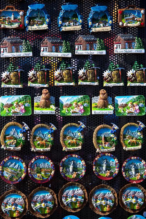 Souvenirs of The Stelvio Pass, Passo dello Stelvio, Stilfser Joch, on sale at Cima Coppi in Ortler Eastern Alps, Northern Italy