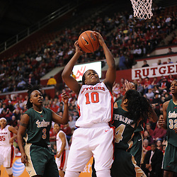 Jan 31, 2009; Piscataway, NJ, USA; Rutgers guard Epiphanny Prince (10) grabs an offensive rebound over South Florida guard Jazmine Sepulveda (4) during the first half of South Florida's 59-56 victory over Rutgers in NCAA women's college basketball at the Louis Brown Athletic Center