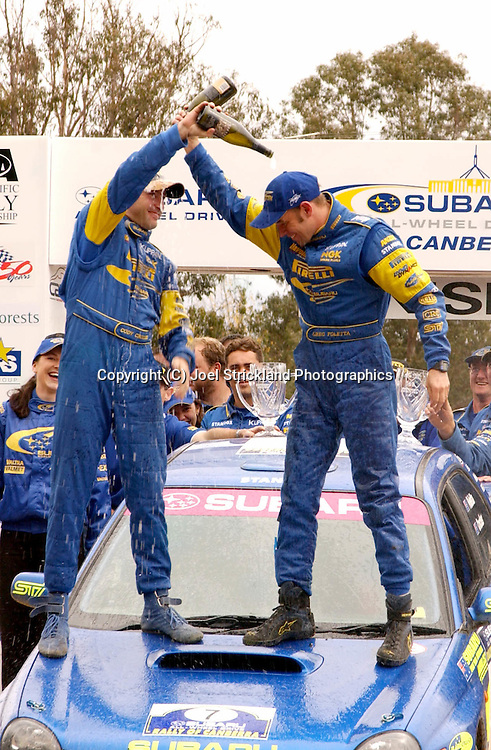 Cody Crocker & Greg Foletta .Podium.2003 Rally of Canberra .Canberra, ACT, Australia.27th of April 2003.(C) Joel Strickland Photographics