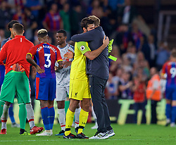 LONDON, ENGLAND - Monday, August 20, 2018: Liverpool's manager Jürgen Klopp celebrates with goalkeeper Alisson Becker (L) after the FA Premier League match between Crystal Palace and Liverpool FC at Selhurst Park. Liverpool won 2-0. (Pic by David Rawcliffe/Propaganda)
