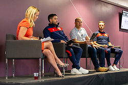 Lisa Knights, Chief of Media for Bristol Sport, talks with Bristol City manager Lee Johnson, fan Paul Binning, Jamie McAllister,  - Ryan Hiscott/JMP - 21/06/18 - Ashton Gate Stadium - Bristol, England - Bristol City 2018-19 Fixtures Release Day and Q&A Session