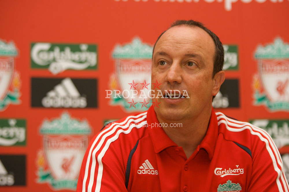 LIVERPOOL, ENGLAND - FRIDAY, AUGUST 18th, 2006: Liverpool's manager Rafael Benitez at a press conference at the club's Melwood Training Ground. (Pic by David Rawcliffe/Propaganda)