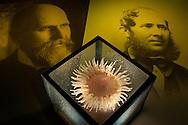 DEU, Deutschland: Porträts von Leopold Blaschka (1822-1895) rechts und Sohn Rudolf Blaschka (1857-1939) links mit Pferdeaktinie (Actinia equina), dieses Glasmodell stammt aus dem Werk der naturwissenschaftlichen Glaskünstler Leopold Blaschka (1822-1895) und Sohn Rudolf Blaschka (1857-1939). Zwischen 1863 und 1890 entstanden in der Dresdner Werkstatt tausende Glasmodelle wirbelloser Meerestiere, die ihren Weg in Museen und Universitäten der ganzen Welt fanden. Diese Nachbildungen verblüffen bis heute, denn sie sind morphologisch fehlerfrei und halten naturwissenschaftlichen Betrachtungen bis ins Detail stand - die perfekte Verschmelzung von Kunst und Naturwissenschaft. Die Blaschkas hatten keine Lehrlinge und es gibt keine weiteren Nachfahren. Vater und Sohn haben das Geheimnis ihrer einzigartigen Technik mit ins Grab genommen, Blaschka-Sammlung; Museum für Naturkunde, Humboldt Universität Berlin | DEU, Germany: Portraits of Leopold Blaschke (1822-1895) right and his son Rudolf Blaschke (1857-1939) left and a sea Anemone (Actinia equina), this glass model originated from the work of the scientific glass artists Leopold Blaschka (1822-1895) and his son Rudolf Blaschka (1857-1939). Between 1863 and 1890 thousands of glass models of invertebrates sea animals developed in the workshop in Dresden, which found their way in museums and universities of the whole world. These reproductions amaze until today, because they are morphologically exact and withstand scientific examinations in detail - the perfect fusion of art and natural science. The Blaschkas didn?t have apprentices and it gives no further descendants. Father and son took the secret of their inimitable technology also in the grave, Blaschka-collection, Museum For Natural Science, Humboldt University, Berlin |