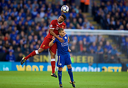 LEICESTER, ENGLAND - Saturday, September 23, 2017: Liverpool's Joel Matip and Leicester City's Marc Albrighton during the FA Premier League match between Leicester City and Liverpool at the King Power Stadium. (Pic by David Rawcliffe/Propaganda)