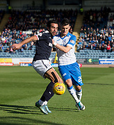 16th September 2017, Dens Park, Dundee, Scotland; Scottish Premier League football, Dundee versus St Johnstone; Dundee's Sofien Moussa battles with St Johnstone's Graham Cummins