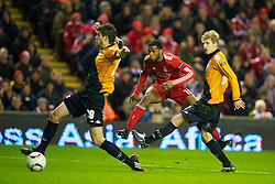 LIVERPOOL, ENGLAND - Wednesday, December 15, 2010: Liverpool's Ryan Babel has a shot on goal against FC Utrecht during the UEFA Europa League Group K match at Anfield. (Photo by: David Rawcliffe/Propaganda)