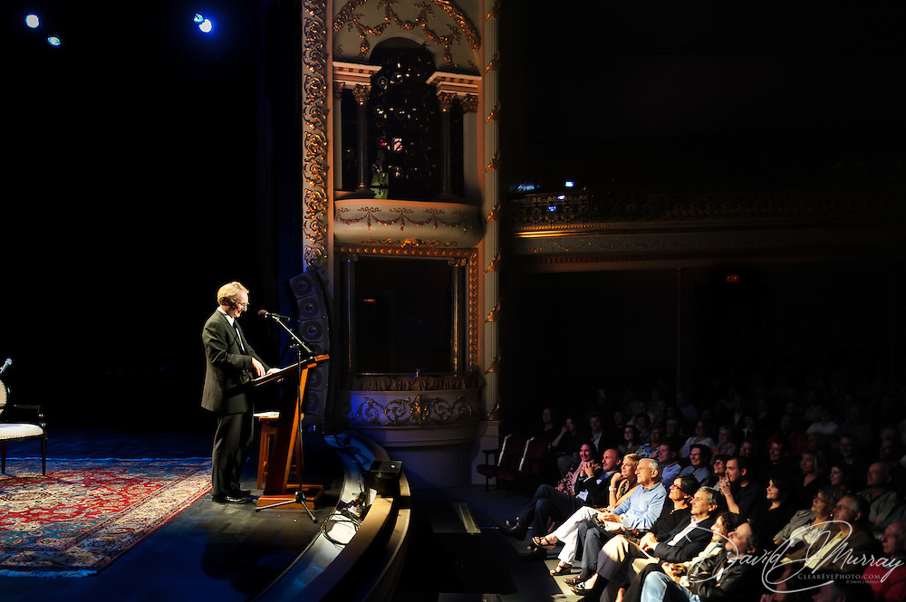 Author Dan Brown speaks during a Writers on a New England Stage benefit show at The Music Hall in Portsmouth, NH