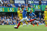 Portsmouth Midfielder, Gareth Evans (26) misses the penalty kick during the EFL Sky Bet League 1 match between Portsmouth and Oxford United at Fratton Park, Portsmouth, England on 18 August 2018.