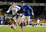 David Nugent on the attack during the The FA Cup match between Tottenham Hotspur and Leicester City at White Hart Lane, London, England on 24 January 2015. Photo by Alan Franklin.