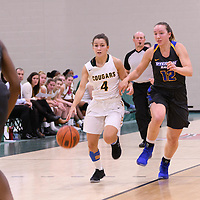 2nd year guard Avery Pearce (4) of the Regina Cougars in action during the Women's Basketball Preseason game on October 6 at Centre for Kinesiology, Health and Sport. Credit: Arthur Ward/Arthur Images