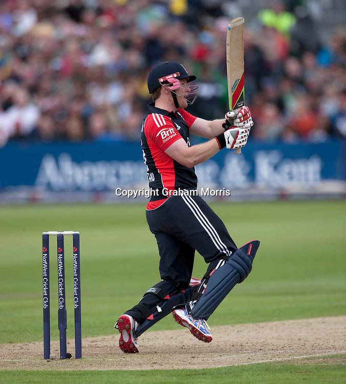 Eoin Morgan bats during the T20 international between England and Sri Lanka at Bristol.  Photo: Graham Morris/photosport.co.nz