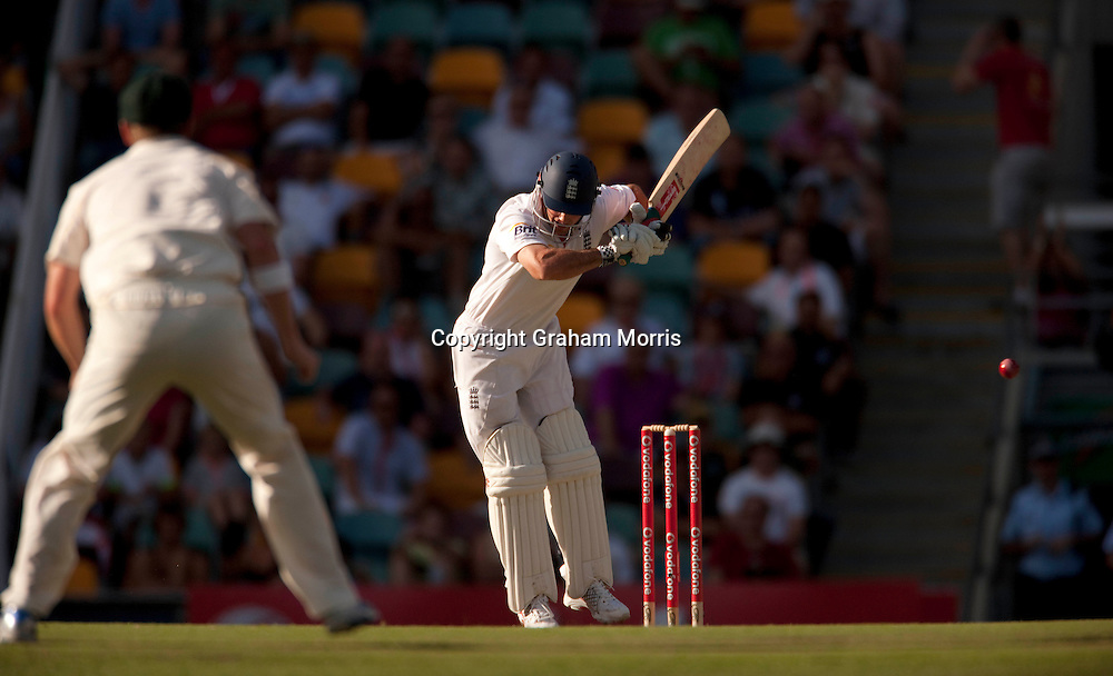 Captain Andrew Strauss escapes a referral (not lbw Ben Hilfenhaus) in the first Ashes Test Match between Australia and England at the Gabba, Brisbane. Photo: Graham Morris (Tel: +44(0)20 8969 4192 Email: sales@cricketpix.com) 27/11/10