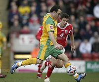 Photo: Aidan Ellis.<br /> Barnsley v Norwich City. Coca Cola Championship. 03/03/2007.<br /> Norwich's Lee Croft fires in the second goal