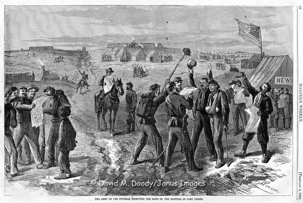 Union troops in the Army of the Potomac reading newspapers learn of the capture of Fort Fisher.   Civil War in Virginia.  1865 Harper's Weekly February 4, 1865