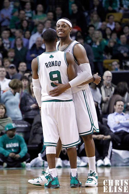 06 March 2012: Boston Celtics point guard Rajon Rondo (9) is congratulated by Boston Celtics small forward Paul Pierce (34) during the Boston Celtics 97-92 (OT) victory over the Houston Rockets at the TD Garden, Boston, Massachusetts, USA.