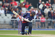 Lancashires Haseeb Hameed faces a bouncer during the Royal London 1 Day Cup match between Lancashire County Cricket Club and Northamptonshire County Cricket Club at the Emirates, Old Trafford, Manchester, United Kingdom on 24 April 2019.