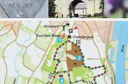 Map of tourist activities in Fort Sint Pieter area, Maastricht, Limburg province, Netherlands,