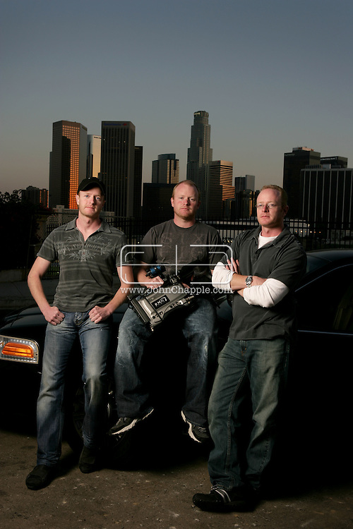 10th April 2008, Los Angeles, California. Three daredevil brothers from Dorset are set to become America's biggest reality TV stars. Howard, Austin and Marc Raishbrook, who risk their lives filming police car chases and shootouts, have been offered a mega bucks deal to star in their own series. Pictured left to Right is Howard, Marc and Austin Raishbrook. PHOTO © JOHN CHAPPLE / REBEL IMAGES.john@chapple.biz    www.chapple.biz