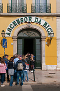 The entrance to the Bica Funicular Ascensor da Bica sign, Lisbon, Portugal