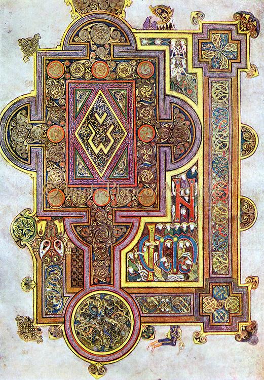 Opening words of St Luke's Gospel 'Quoniam'. 'Book of Kells' 6th century manuscript of the Four Gospels