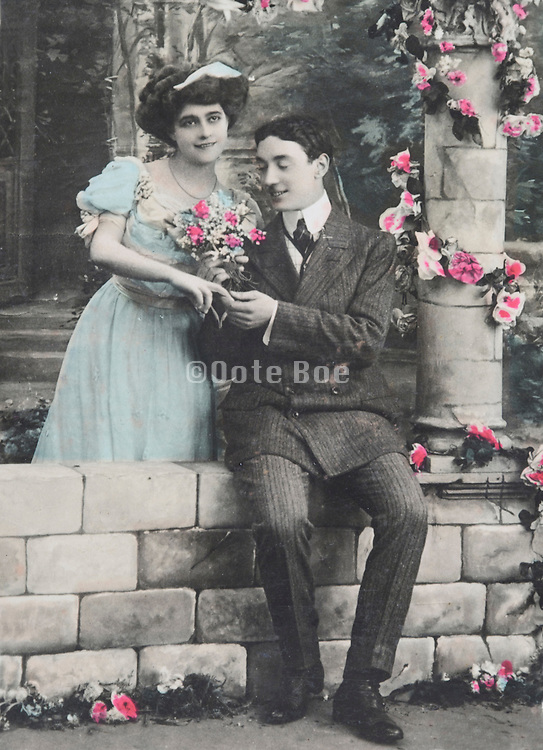 romantic portrait of young couple 1920s
