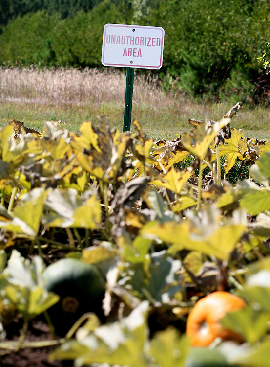 Signs, not fences, remind prisoners where they are allowed to be in the garden at the Minnesota Correctional Facility in Willow River August 22, 2012.