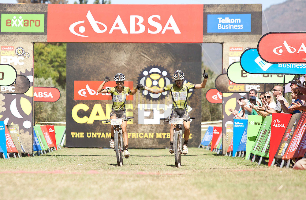 Ariane Kleinhans(L) and Erik Kleinhans(R) win stage 3 of the 2013 Absa Cape Epic Mountain Bike stage race held from Saronsberg Wine Estate in Tulbagh, South Africa on the 20 March 2013..Photo by Sam Clark/Cape Epic/SPORTZPICS