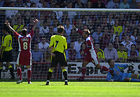 Photo: Richard Lane.<br />Walsall v Aston Villa. Pre-season friendly. 02/08/2003.<br />Paul Merson celebrates a goal on his first home game for Walsall.