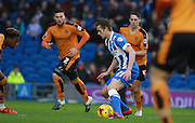 Brighton striker James Wilson looks for an opening during the Sky Bet Championship match between Brighton and Hove Albion and Wolverhampton Wanderers at the American Express Community Stadium, Brighton and Hove, England on 1 January 2016. Photo by Bennett Dean.