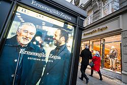 Glass display cabinet for luxury boutique  Ermenegildo Zegna on famous shopping street Kurfurstendamm , Kudamm, in Berlin, Germany.