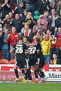 Barnsley celebrate Sam Winnall of Barnsley FC scoring during the Sky Bet League 1 match between Doncaster Rovers and Barnsley at the Keepmoat Stadium, Doncaster, England on 3 October 2015. Photo by Ian Lyall.