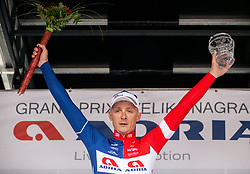 Winner Marko Kump of KK Adria Mobil celebrates at Trophy ceremony after the cycling race 5th Grand Prix Adria Mobil, on April 7, 2019, in Slovenia. Photo by Vid Ponikvar / Sportida