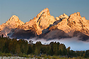 Middle and Grand Teton and Teewinot seen from Schwabacher Landing, Grand Teton National Park, Wyoming, USA