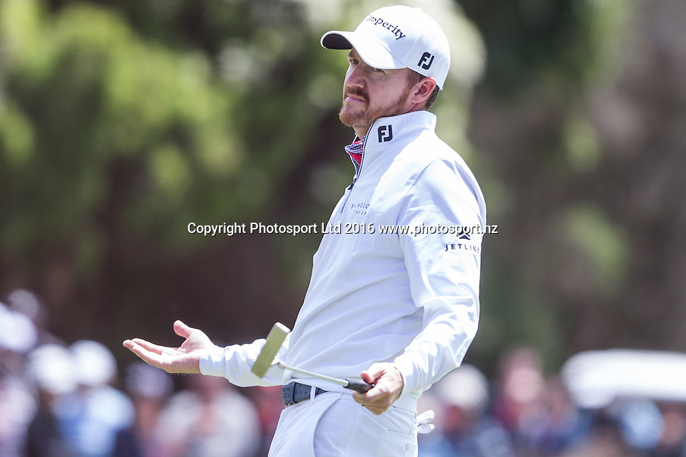 Jimmy Walker (USA) makes a gesture during the round 1 of the World Cup of Golf at Kingston Heath Golf Club, Melbourne Australia. Thursday 24th November 2016. Copyright Photo Brendon Ratnayake / www.photosport.nz