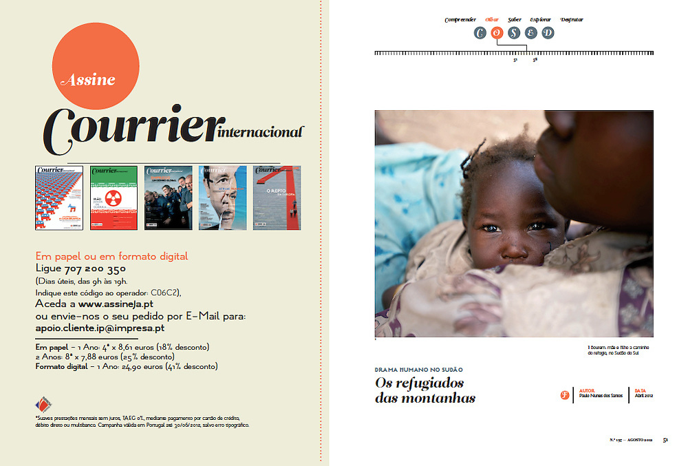 "Tearsheet of ""Humanitarian crisis in the Nuba Mounatins, Sudan"" published in Courrier Internacional"