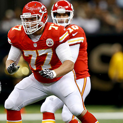 Aug 9, 2013; New Orleans, LA, USA; Kansas City Chiefs defensive end Brad Madison (77) against the New Orleans Saints during a preseason game at the Mercedes-Benz Superdome. The Saints defeated the Chiefs 17-13. Mandatory Credit: Derick E. Hingle-USA TODAY Sports