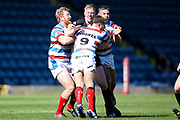 Bradford Bulls prop Liam Kirk (8) is well tackled during the Kingstone Press Championship match between Rochdale Hornets and Bradford Bulls at Spotland, Rochdale, England on 18 June 2017. Photo by Simon Davies.