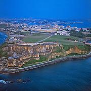 Aerial of El Morro and old San Juan..San Juan, Puerto Rico
