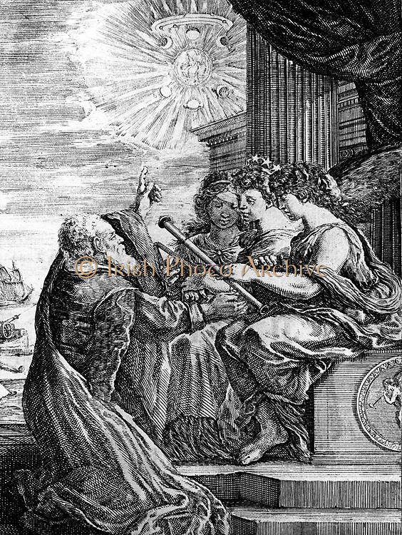 Galileo presenting his telescope to the Muses, and pointing out a heliocentric system of the universe. Note Jupiter and its satellites, the phases of Venus, and the triple nature of Saturn. From 'Operere di Galileo Galilei', Bologna 1655-1656. Engraving