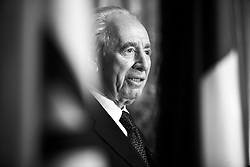 """""""Israeli Vice Prime Minister Shimon Peres attends a cocktail reception for the US release of """"""""Shimon Peres: the Biography"""""""" written by Michael Bar-Zohar, at the French Consulate in New York City, USA on February 26, 2007. Photo by Gerald Holubowicz/ABACAPRESS.COM"""""""