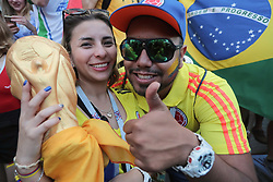 June 18, 2018 - Moscow, U.S. - MOSCOW, RUSSIA - JUNE 18: Fans of Brazil celebrate on Nikolskaya Street during the 2018 FIFA World Cup on June 18, 2018, in Moscow, Russia. (Photo by Anatoliy Medved/Icon Sportswire) (Credit Image: © Anatoliy Medved/Icon SMI via ZUMA Press)
