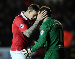 Bristol City Goalkeeper, Frank Fielding and Bristol City's Aden Flint embrace prior to the game  - Photo mandatory by-line: Joe Meredith/JMP - Mobile: 07966 386802 - 10/02/2015 - SPORT - Football - Bristol - Ashton Gate - Bristol City v Port Vale - Sky Bet League One