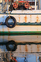 Close-up of a fishing trawler docked in Wanchese Harbor.
