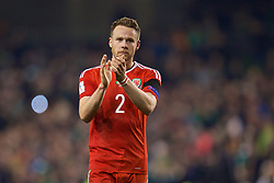 DUBLIN, REPUBLIC OF IRELAND - Friday, March 24, 2017: Wales' Chris Gunter applauds the supporters after the goal-less draw with Republic of Ireland during the 2018 FIFA World Cup Qualifying Group D match at the Aviva Stadium. (Pic by David Rawcliffe/Propaganda)