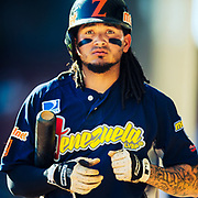CULIACAN, MEXICO - FEBRUARY 2, 2017: Freddy Galvis #2 of Venezuela returns to the dugout after batting during the Caribbean Series game against Puerto Rico at Estadio de los Tomateros on February 2, 2017 in Culiacan, Rosales. (Photo by Jean Fruth)