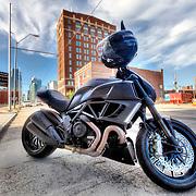 Ducati Testrastretta II motorcycle parked on Main Street in Kansas City, Missouri.