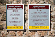 Sign at the entrance to the Great Wall, Ston, Dalmatian Coast, Croatia